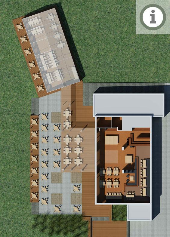Teamgeist-Yachtclub mit großzügiger Terrasse (teilw. überdacht)
